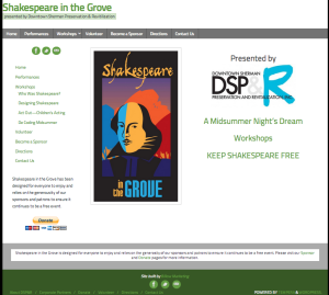 Shakespeare in the Grove Website