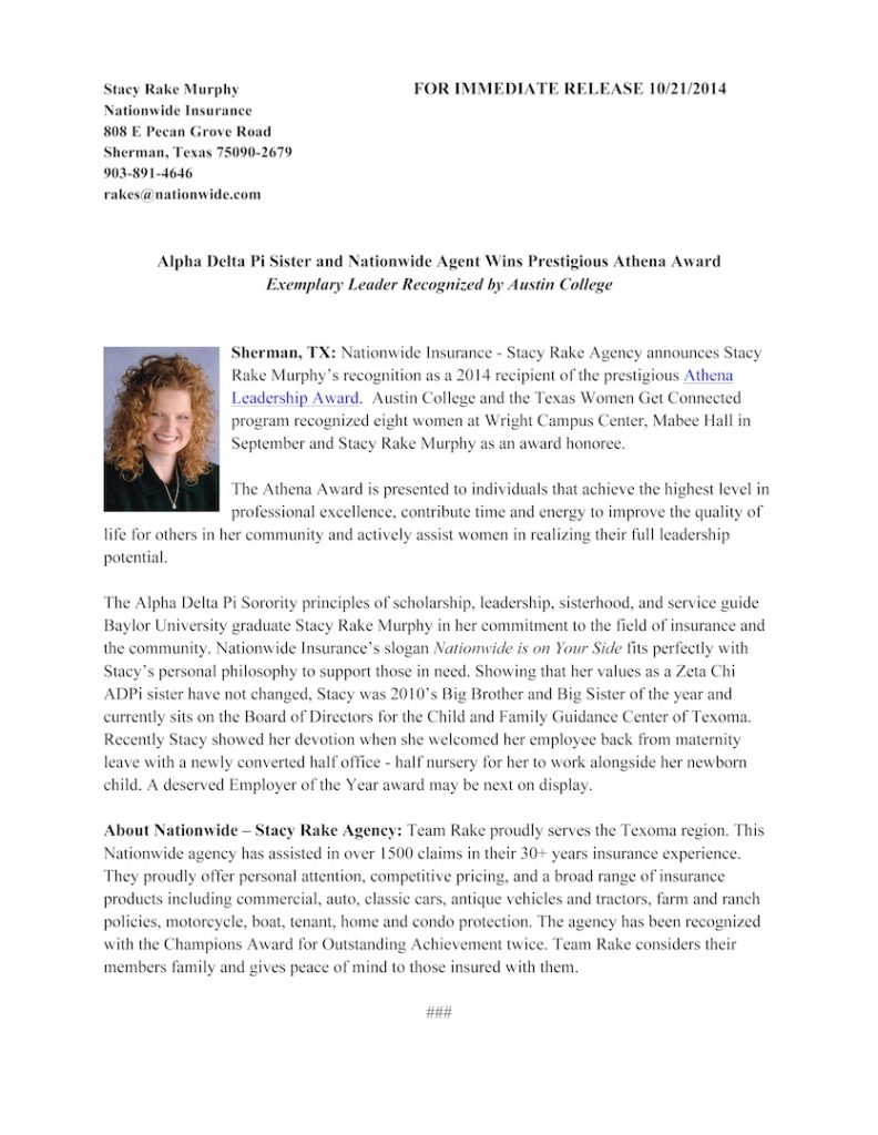 Athena Award Press Release