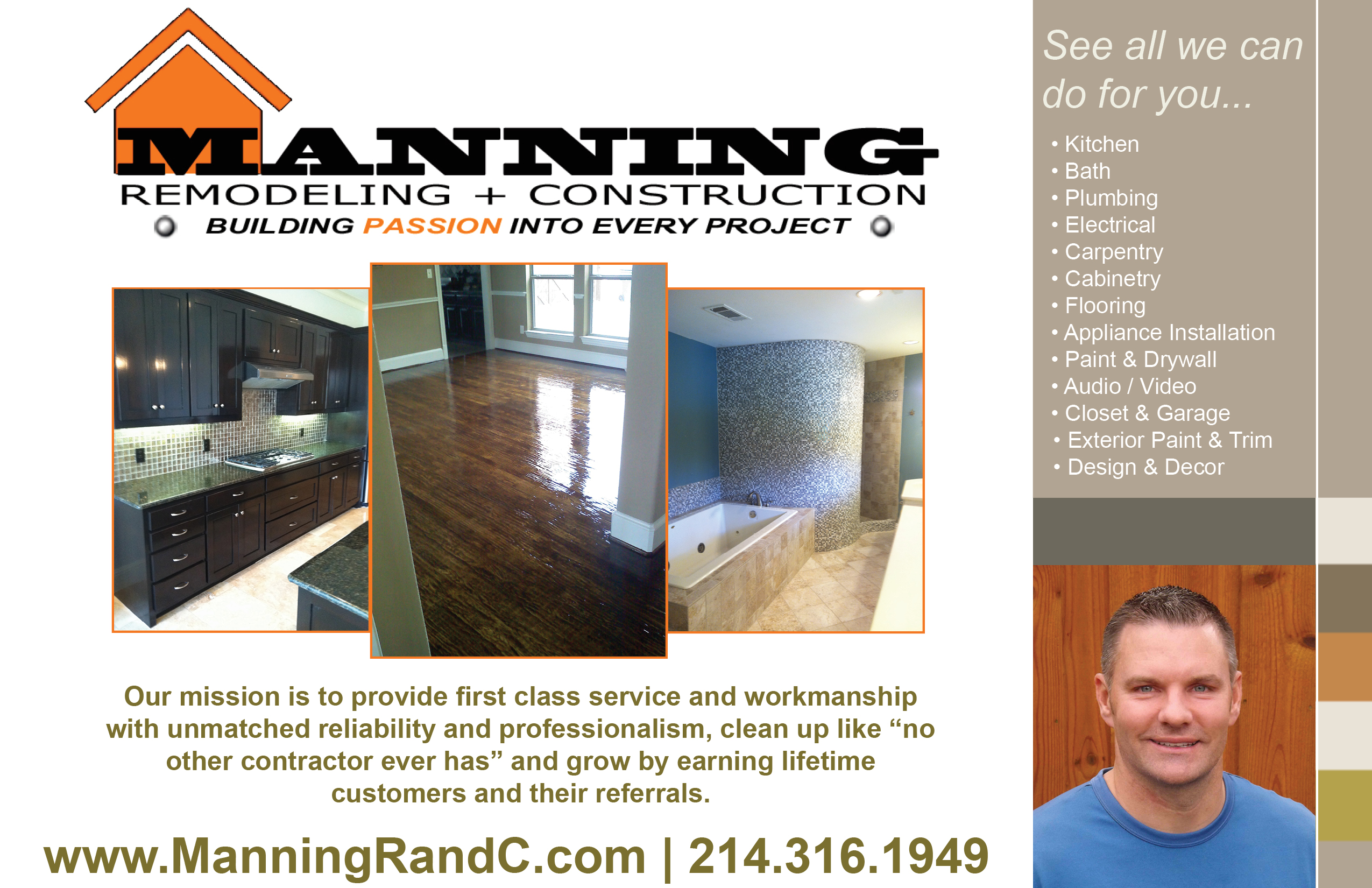 Manning Remodeling and Construction Flyer - Front